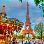 Eiffel Tower with carousel by Michael Matthews