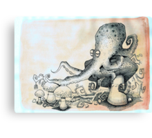 Octopus on mushroom Canvas Print