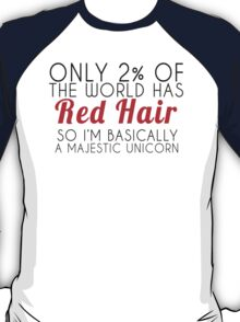 Red Hair Majestic Unicorn  T-Shirt