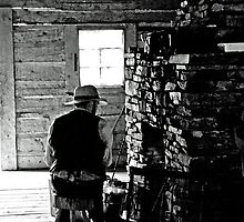 Black and White 1800s style trapper image  by Laurast
