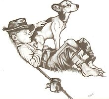 norman rockwell fishing drawing by RobCrandall