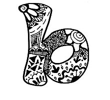 """Hipster Letter """"B"""" Zentangle Photographic Print"""