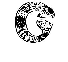 "Hipster Letter ""C"" Zentangle Photographic Print"