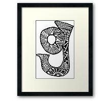 """Hipster Letter """"G"""" Zentangle Framed Print"""