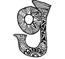 "Hipster Letter ""G"" Zentangle Photographic Print"