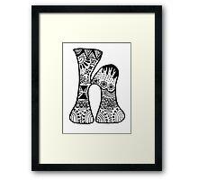 """Hipster Letter """"H"""" Zentangle Framed Print"""