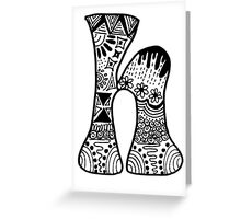 "Hipster Letter ""H"" Zentangle Greeting Card"