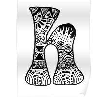 "Hipster Letter ""H"" Zentangle Poster"