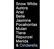 Princess Names (white text) Photographic Print