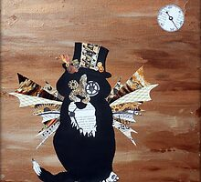 Abstract Cat Art STEAMPUNK SEBASTIAN mixed media collage painting by hollyanderson