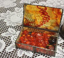 Amber Stained glass jewellery box  by Maree  Clarkson