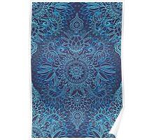 Aqua, Cobalt Blue & Purple Protea Doodle Pattern Poster