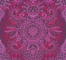 Magenta, Pink & Coral Protea Doodle Pattern by micklyn