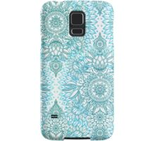 Turquoise Blue, Teal & White Protea Doodle Pattern Samsung Galaxy Case/Skin