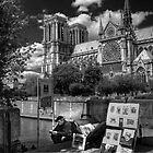On the Steps of Notre Dame by Sue  Cullumber