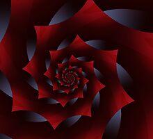 Dark Red Spiral Fractal  by Kitty Bitty