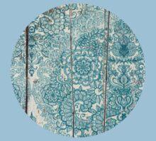 Teal & Aqua Botanical Doodle on Weathered Wood T-Shirt