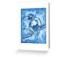 Bird on a Wire (Blue) Greeting Card