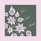 Live, Laugh, Love Pink and Green Pillow or Tote by Vickie Emms