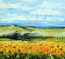 Sunflowers by Lisa Elley. Palette knife painting in oil by lisaelley