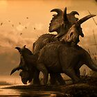 Albertaceratops Pair at Sunset- Sepia Toned by dkrentz