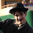 Charlie Chaplin? In front of Sydney ferry and Sydney Harbour Bridgs by indiafrank
