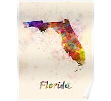 Florida US state in watercolor Poster