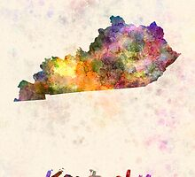 Kentucky US state in watercolor by paulrommer