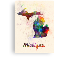 Michigan US state in watercolor Canvas Print