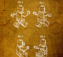 Lego Minifig Vintage Patent on Worn Paper by scienceispun
