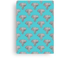 Elephant Pattern on Blue Canvas Print