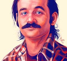 Young Bill Murray with mustache digital painting  by Thubakabra