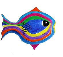 Multicolor acrylic painting of a fish by JoAnnFineArt