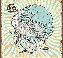 Cancer zodiac sign.Vintage Horoscope by Tatiakost