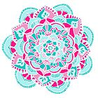 Hot Pink & Teal Mandala Flower by Tangerine-Tane
