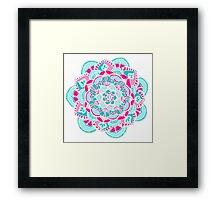 Hot Pink & Teal Mandala Flower Framed Print