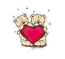 Bears Red Heart Photographic Print