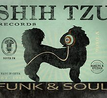 SHIH TZU RECORD LABEL FUNK AND SOUL ART PRINT by DOOLALLY
