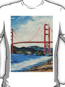 Golden Gate ll by Lisa Elley. Palette knife painting in oil T-Shirt