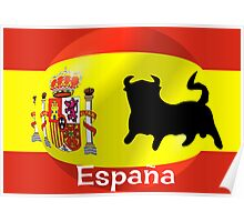 Spanish Flag With Bull Poster