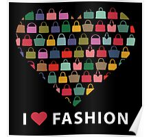 Colorful silhouettes women's handbags in Compositionof heart Poster