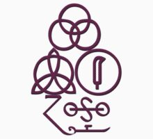 LED ZEPPELIN BAND SYMBOLS (PURPLE POLKA DOTS) by Endlessgrief