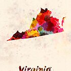 Virginia US state in watercolor by paulrommer