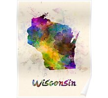 Wisconsin US state in watercolor Poster