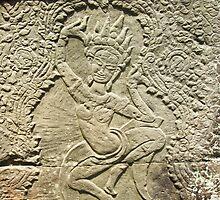 Apsara Carving - Angkor Wat, Cambodia by Tim Topping