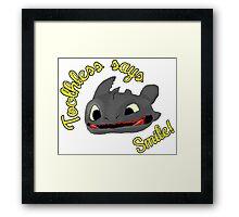 Toothless Says Smile! Framed Print