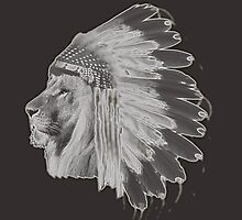 Lion Chief - Black and White by UneartheDesigns