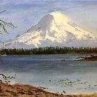 Albert Bierstadt, lake in the Rockie. Vintage landscape oil painting. by naturematters