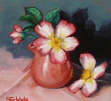 Camellias and Chinese Tea Jug by Margaret Stockdale