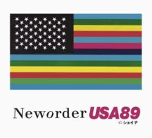 "New order Flag ""1989 USA tour"" design WHITE (also in BLACK/COLORS) shirt  by Shaina Karasik"